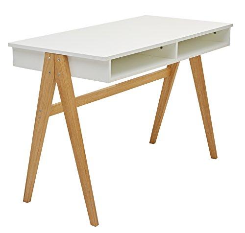 Tenzo 2020-454 Strada - Designer Schreibtisch, Untergestell Eiche massiv, 75 x 110 x 55 cm, weiß eiche / lackiert matt
