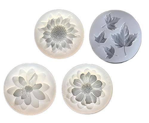 Yalulu 4Pcs 3D Flower Maple Leaf Shape DIY Silicone Mould Resin Molds For Pendant Necklace Earring Casting Making Mould
