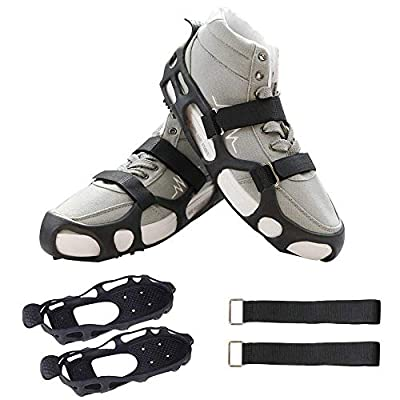 1 Pair of 24 Steel Stubs Anti-Slip Crampons Walk Traction Ice Snow Cleats Grips and Tread Premium TPE Ice Grips with 2 Removable Performance Straps for Snow & Ice (S(Men:4-7/Women:5-8))