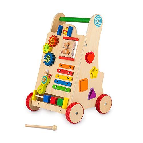 Cuddlez Lauflernwagen aus Holz – Lauflernhilfe in Naturfarbe mit gummierten Rädern für Babys und Kinder, spielend Laufen Lernen, mit Xylophon & vielen Motorik-Spielmöglichkeiten, ab 12 Monate