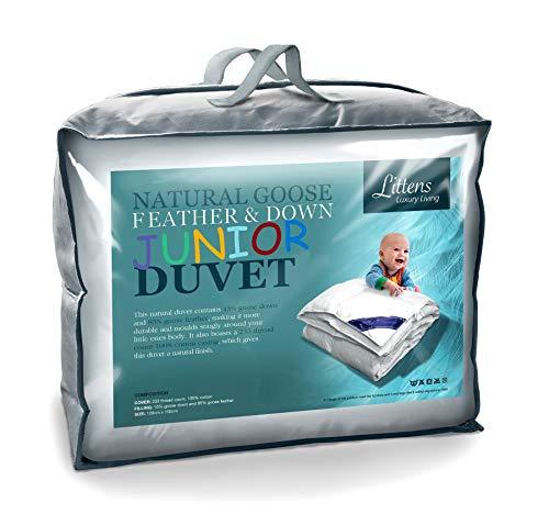 Littens 7.5 Tog Junior Cot Bed Size Goose Feather & Down Duvet Quilt, 230TC 100% Cotton, Down Proof, Kids, Toddler (120cm x 150cm)
