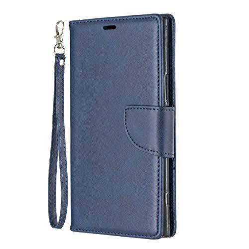 Capa para Xperia XZ Premium, YINCANG PU Couro TPU Silicone Interior com Cordão Fecho Magnético Flip Compartimentos para Cartão Capa Protetora para Sony Xperia XZ Premium 5,7 polegadas Azul