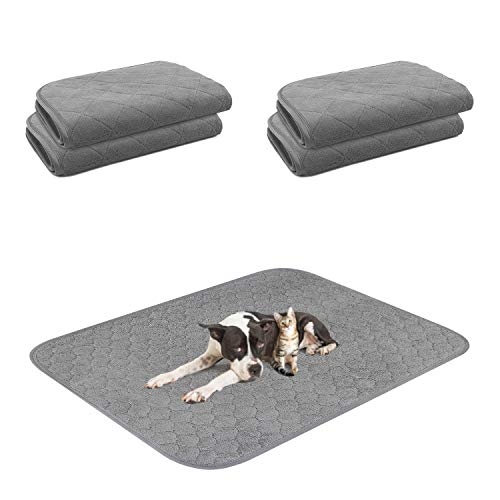 """4 Packs Washable Dog Pee Pad, 18""""24"""" Reusable Thickened Pet Pee Pads with Fast Absorbent, Non-Slip Whelping and Training Pads No Leakage, Waterproof Dog Mats Potty Rugs for Dog Playpen, Crate, Kennel"""