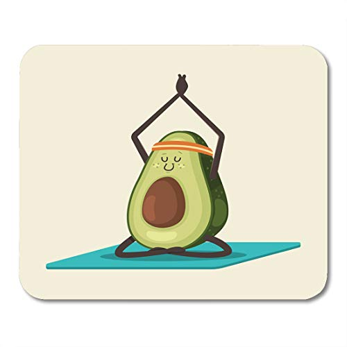 Semtomn Mouse Pad Cute Avocado in Yoga Pose Funny Cartoon Fruit Character Mousepad 9.8' x 7.9' for Notebooks,Desktop Computers Mouse Mats, Office Supplies