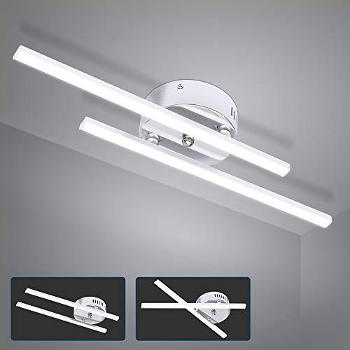 ALLOMN Luz de Techo LED, 14W Lámpara de Araña Lámpara de Techo de Diseño de Tira Paralela Moderna con 2PCS Luz de Tira Paralela para Sala de Estar Dormitorio Comedor (2 Luces Blanco Frio)