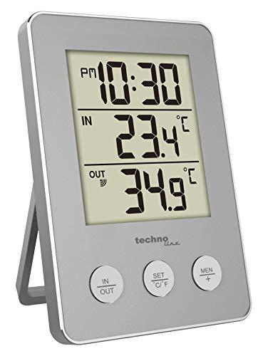 Technoline Digitale Quarzuhr mit Innen-und Außentemperatur, Silber, 76 x 22 x 110 mm