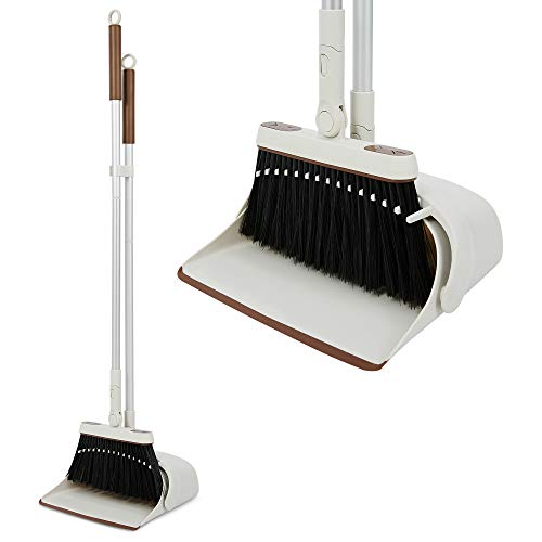 Jekayla Broom and Dustpan Set with Extendable Long Handle, Upright and Lightweight Cleaning Combo for Home Kitchen Room Office Lobby, Brown and Grey