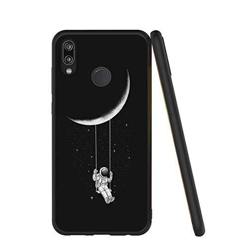 Yoedge Cover Huawei P20 Lite, Sottile Antiurto Custodia Nero Silicone TPU con Disegni Pattern Ultra Slim 360 Protective Bumper Case per Apple Huawei P20 Lite, Astronauta