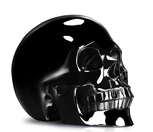 "Skullis 5.0"" Black Obsidian Crystal Skull, Hand Carved Gemstone Fine Art Sculpture, Reiki Healing Stone Statue.(Select Style)"