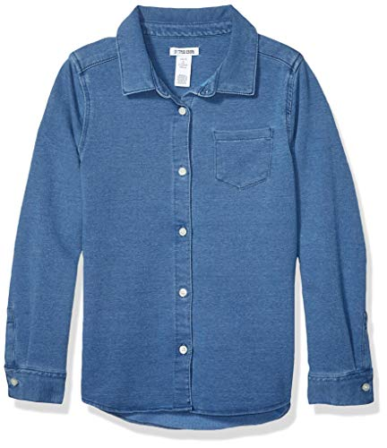 Spotted Zebra Knit Denim Shirt Button-Down-Shirts, Desteñido medio, M
