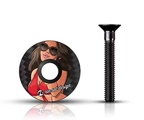 Riesel Design-Stem Cap-Vorbau Deckel-Mountainbike-Carbon-Ahead-Kappe mit Schraube-Girl II