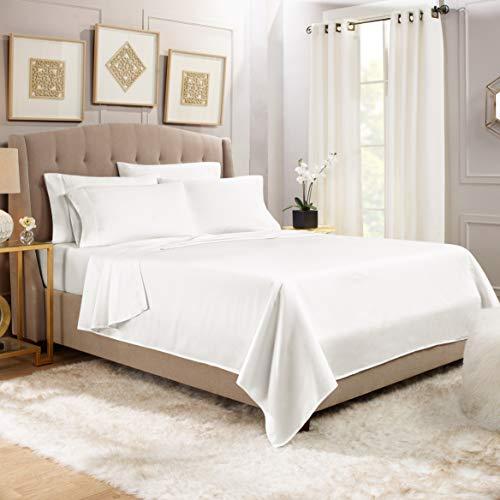 "Premium 6-Piece Bed Sheet & Pillow Case Set – Luxurious & Soft King Size Linen, Extra Deep Pocket Super Fit Fitted White Sheets, Bedroom Essentials, BONUS 2 Pillowcases & ""Better Sleep Guide"""
