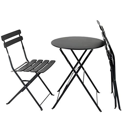 AFP Bistroset 3-teilig anthrazit - Metallmöbel-Set Tisch rund + 2 Stühle klappbar, Balkonset, kleine Gartenmöbel Garnitur Balkonmöbel stabile Ausführung, farbig