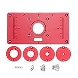 KKmoon Tavolo Router Multifunzionale Piastra Inserto in Lega di Alluminio Panche per la Lavorazione del Legno 235x120x8mm