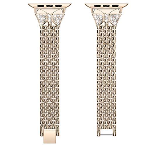 Para Apple Watch Band 44mm 40mm 42mm 38mm Accesorios de reloj para mujer Pulsera de acero inoxidable brillante para IWatch 4 3 2 1 Belt-Gold, iWatch 40mm