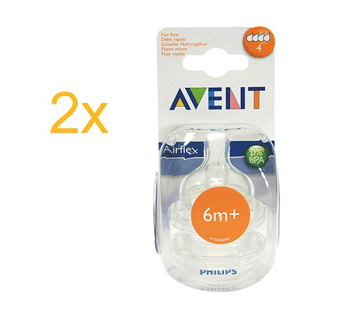 Philips Avent Airflex Sauger 0% BPA 6m+ mittlerer Nahrungsfluss 4 Stück weicher Silikonsauger