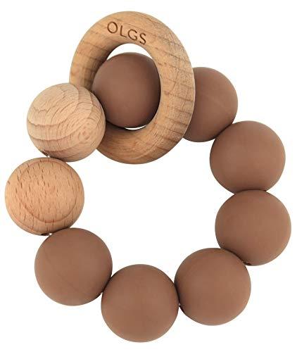 Beißring aus Silikon und Holz für Babys & Kleinkinder | Pastell Braun Greifling zum Zahnen Beißspielzeug | BPA-frei und einfach zu reinigen | Greifring für Junge/Mädchen (Clay)