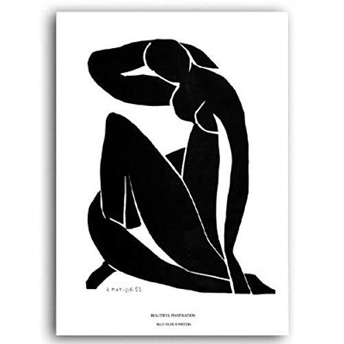 PLDZSH Tríptico Vintage Line Figure Canvas Painting Posters Impresiones Wall Art Pictures Living Room Home Decor, A4 21x30 cm sin Marco, E