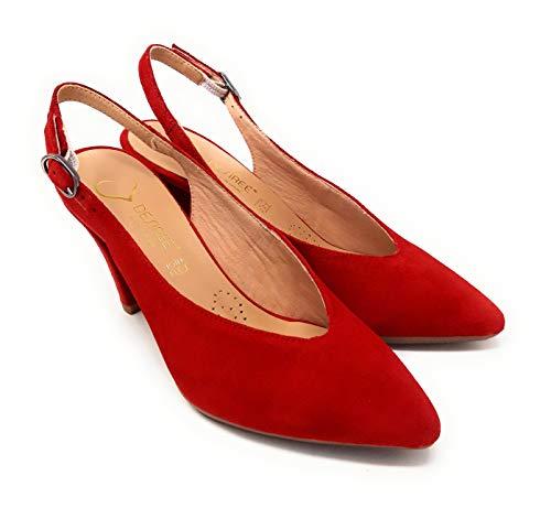 DESIREE SATUR 2 Ante Rojo,Zapato Stiletto Destalonado...