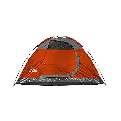 OSAGE RIVER Glades 4 Person Family Camping Tent with Rainfly, Orange/Titanium