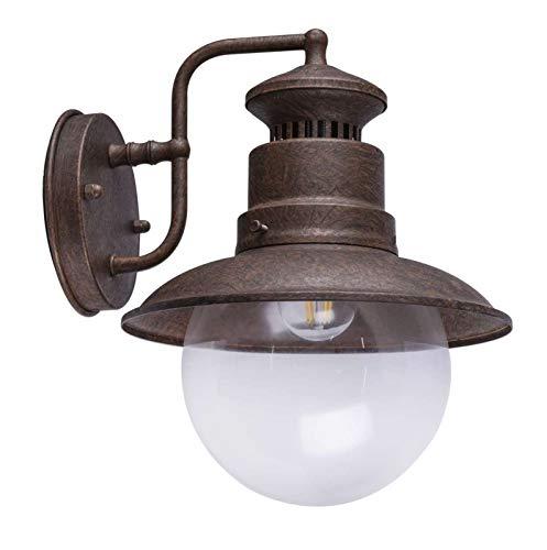 Lámpara de pared exterior vintage, lámpara de pared exterior rústica (iluminación exterior, pared, farol, cristal, colores oxidados)