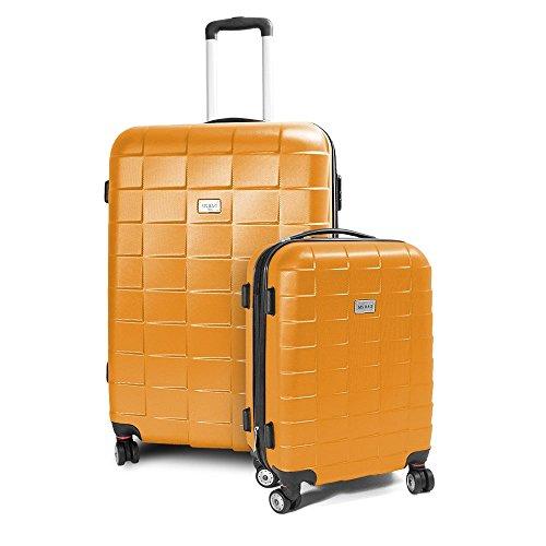 BERWIN® Kofferset M + XL 2-teilig Reisekoffer Trolley Hartschalenkoffer ABS Teleskopgriff Modell Squares (Orange)