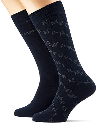 Emporio Armani Underwear Mens Casual 2 Pack In-Shoe Socks, NavyBlue, TU (3er Pack)