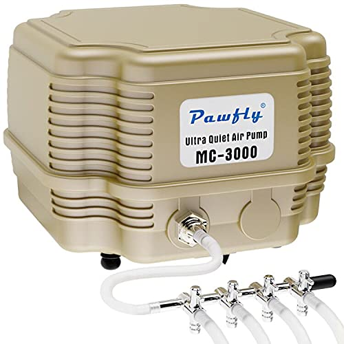 Pawfly 7 W 254 GPH Commercial Air Pump 4 Outlets Manifold Quiet Oxygen Aerator Pump for Aquarium Pond