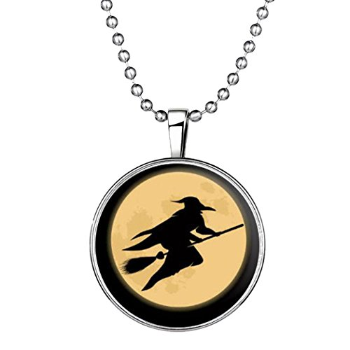 YC Top Original Design Halloween Hexe Nacht Luminous Anhänger Halskette