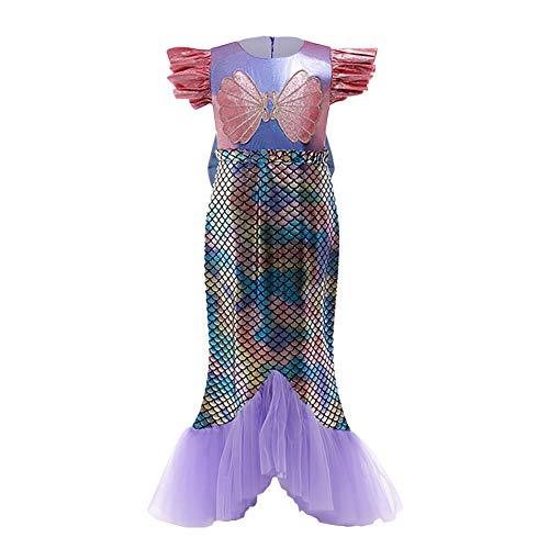 Disfraz de Sirena Niña Vestido Princesa Ariel Fuera del Hombro Sin Mangas Festival Carnaval Halloween Navidad Cumpleaños Traje de Fiesta Accesorios Morado 8-9 años