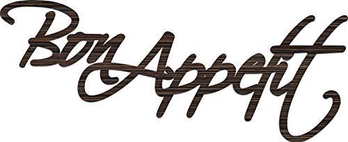 "Cuadros Lifestyle Wandobjekt   Wanddekoration   ""Bon Appetit""   Schriftzug   Wandbuchstaben, Größe:ca. 59x24 cm, Farbe:Holzoptik"