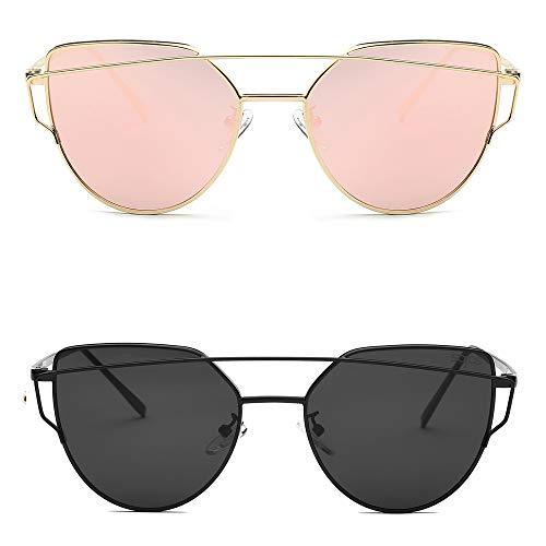 SOJOS Cat Eye Sunglasses for Women Fashion Designer Style Mirrored Lenses SJ1001 with SJ1001C1Black/Grey and SJ1001C2Gold/Pink