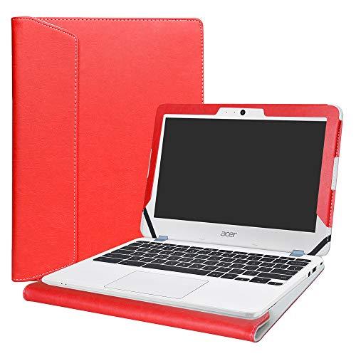 Alapmk Diseñado Especialmente La Funda Protectora de Cuero de PU para 11.6' Acer Chromebook 11 C771 & Chromebook Spin 11 CP311-1HN R751T CP511-1HN R751TN Series Ordenador portátil,Rojo