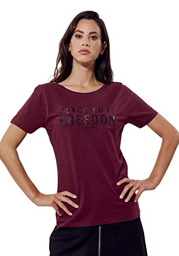 Kaporal - T-Shirt cintrée Femme avec imprimé Peace Love Freedom - Azora - Femme - S - Orange