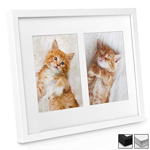 bomoe Marco de Fotos múltiple Galeria para 2 Fotos (2X 9x13 cm) - Tamaño: 25x19x2,5 cm - Blanco