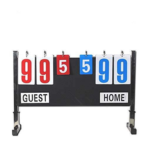 Vobajf Marcadores de puntuación y Tiempo Tirón del Fútbol Badminton Baloncesto portátil de Escritorio Marcador Marcador Deportivo Marcadores y temporizadores (Color : Negro, tamaño : 60 x 40cm)