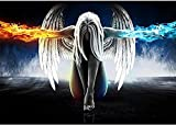 Puzzle 4000 Pieces 3D Puzzle Anime Angel Girl Wings Ice and Fire Poster and Printed Wall Art Picture for Living Room Decoration Gift 141x88cm