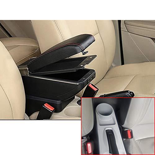 Muchkey de Voiture Accoudoir Boîte avec Housse USB Accoudoir Console Centrale Cuir PU Accessoires de décoration d'intérieur Noir