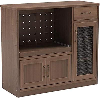 不二貿易 キッチン収納 キッチンカウンター 幅90cm ミディアムブラウン スライド棚 コンセント付き 97712