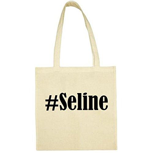 Tasche #Seline Größe 38x42 Farbe Natur Druck Schwarz