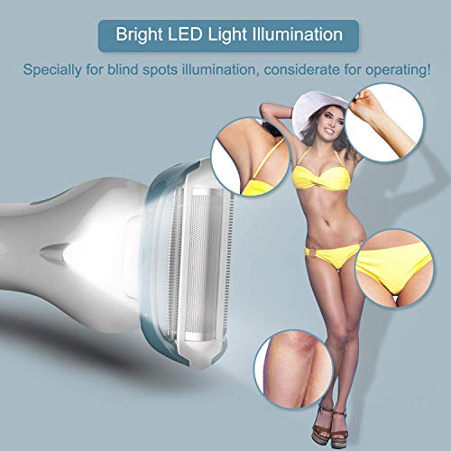 Brori Electric Razor for Women - Womens Shaver Bikini Trimmer Body Hair Removal for Legs and Underarms Rechargeable Wet and Dry Painless Cordless with LED Light, White