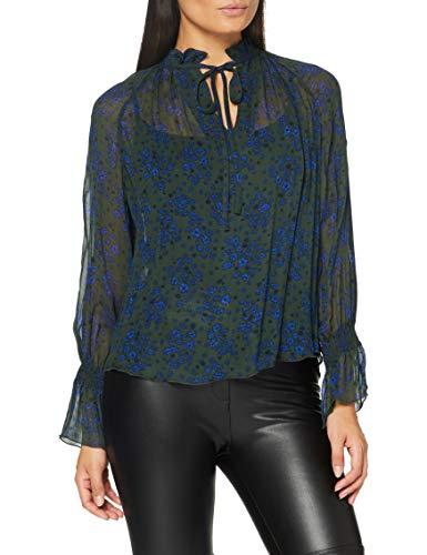 GANT Damen D2. Fall Flower Crinkle Blouse Hemd, Thyme Green, 46