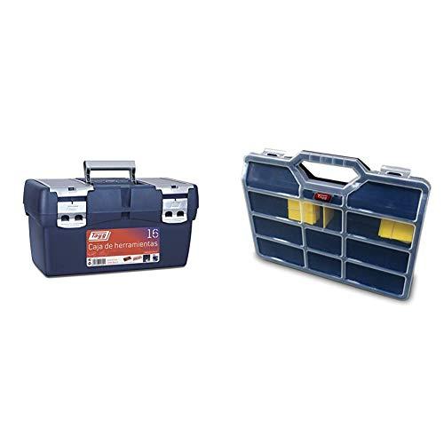 Tayg 16 Caja Herramienta Plástico, Azul/Rojo, 500 x 258 x 255 mm + - Estuche con separadores moviles n.45