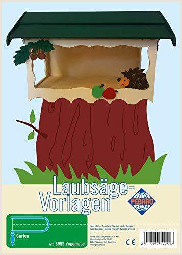 Pebaro Laubsägevorlage aus Sperrholz Motiv Vogelhaus I, Holz, DIN A4