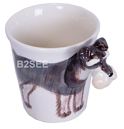 b2see Schnauzer-Hund-e-Tasse Tier Tasse-3d-mit-Hund-emotiv Hunde-Kopf-Bild 14 x 15 x 10 cm