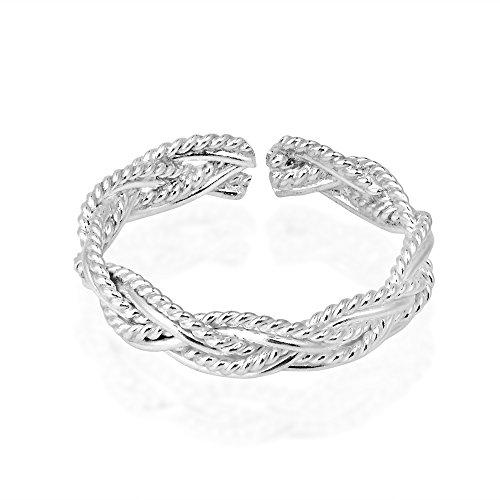 AeraVida Shiny Celtic Weave Design Sterling Silver Toe Ring or Pinky Ring