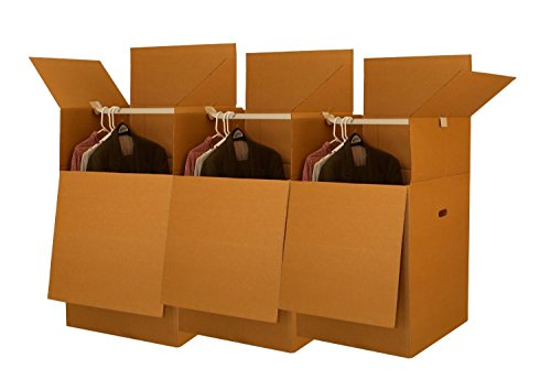 UBOXES Larger Wardrobe 24 x 24 x 40-Inches Moving Boxes, Bundle of 3 (BOXBUNDWAR03)