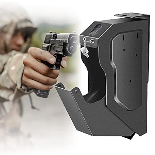 ZPCSAWA Caja Fuerte para Armas, Fácil de Usar Gabinete para Armas, Huella Digital y Cerradura con Llave, Proporciona Almacenamiento Seguro para Una Pistola Estándar