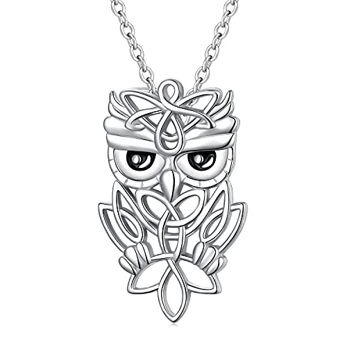 Owl Gift for Women Sterling Silver Celtic Knot Necklaces Owl Pendant Necklaces Jewelry for Women Teens Owl Lovers
