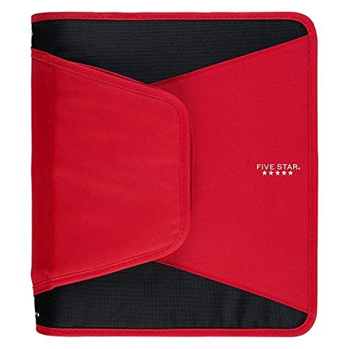Five Star Zipper Binder, 1-1/2 Inch 3 Ring Binder, 3-Pocket Expanding File, Durable, Red (72206)